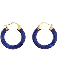 MARCELLO RICCIO - Yellow Gold Plated Sterling Silver Lapis Lazuli Hoop Earrings - Lyst