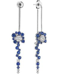 Madstone Design - Diamond And Blue Sapphire Melting Ice Back Front Earring - Lyst