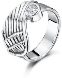 Becky Rowe - Silver Angel Wing Ring With Cubic Zirconia - Lyst