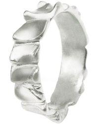 Hazel NY - Gator Stack Ring White Gold - Lyst