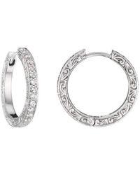 Penny Preville - Diamond White Gold Hoop Earrings - Lyst