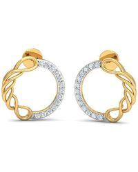 Diamoire Jewels 18kt Yellow Gold 0.11ct Pave Diamond Infinity Earrings Iv