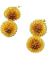 Pats Jewelry - Gold Plated Silver Craspedia Simple Earrings - Lyst