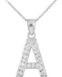 QP Jewellers - Cz Letter A Pendant Necklace In Sterling Silver - Lyst