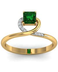 Diamoire Jewels - 18kt Yellow Gold Pave 0.05ct Diamond Infinity Ring With Emerald - Lyst