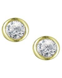 London Road Jewellery - Yellow Gold Diamond Solitaire Raindrop Earrings - Lyst