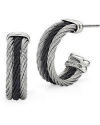 Alor - Noir Earrings Black And Grey Small Hoop - Lyst