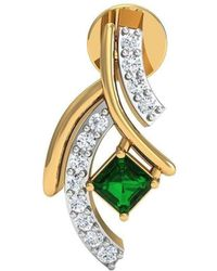 Diamoire Jewels - Hand-carved 14kt Yellow Gold Earrings Set With Premium Diamonds And Emeralds - Lyst