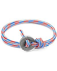Anchor & Crew - Rwb Red White And Blue Lerwick Silver And Rope Bracelet - Lyst