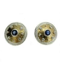 Will Bishop - White Gold & Sapphire Disc Earrings - Lyst