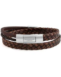 Tateossian - Silver & Brown Leather Cobra Doppio Bracelet - Lyst