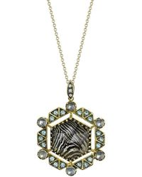 Spencer Fine Jewelry - Zebra Spencer Portrait Necklace With Moonstones And Blue Topaz - Lyst
