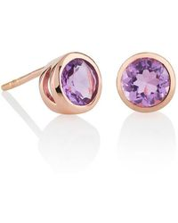MANJA Jewellery - Juliet Rose Gold Amethyst Earrings - Lyst