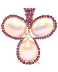 Ri Noor - Three Pearl Ruby And Diamond Brooch-pendant - Lyst