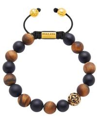 Nialaya - Beaded Bracelet With Matte Tiger Eye, Matte Onyx, And Gold - Lyst