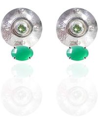 Jane North - Targe Stud Earrings In Sterling Silver With Green Onyx And Peridot - Lyst