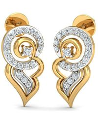 Diamoire Jewels - 18kt Yellow Gold 0.20ct Pave Diamond Infinity Earrings I - Lyst