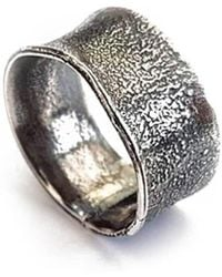 Lexi Cannon Jewellery - Sterling Silver Textured & Oxidised Silver Ring - Lyst