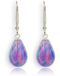 Lavan - 9kt Gold Large Purple Teardrop Earrings - Lyst