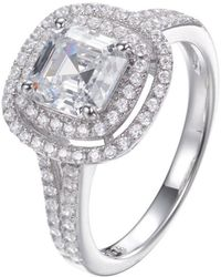 Lustre of London - Double Halo Asscher Cut Ring - Lyst