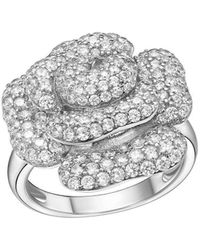 Fei Liu - Peony Ring White Rhodium Finish With Cz - Lyst