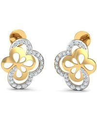 Diamoire Jewels Hand-finished Diamond Pave Earrings in 18Kt Yellow Gold