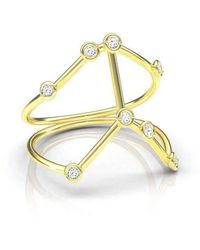 Jessie V E Yellow Gold Leo Star Sign Constellation Ring 0eU2ODs