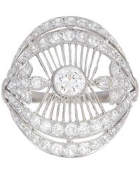 Alexis Danielle Jewelry - Stunning Art Deco Filigree Diamond Platinum Ring - Lyst