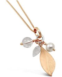 Vicky Davies - Sterling Silver & Rose Gold Long Leaf Pendant Necklace - Lyst