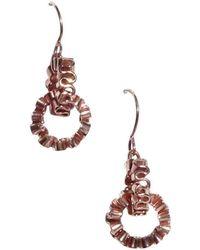 Karen Fox - Rose Gold Circle Ruffle Link Earrings - Lyst