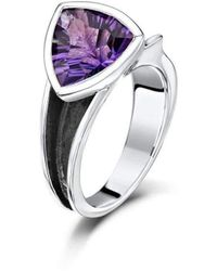 Becky Rowe - Oxidised Sterling Silver & Amethyst Ring | - Lyst