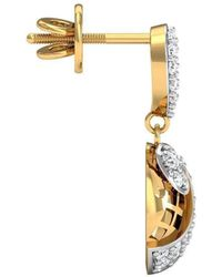 Diamoire Jewels 52 Premium Round Cut Diamonds and 18kt Yellow Gold Pave Earrings MWbNTu