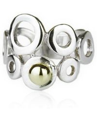 Lavan - Gold And Silver Ring With 9kt Gold Bead - Lyst