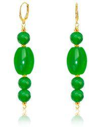 Regenz - 10kt Gold Drop Imperial Jade Earrings - Lyst