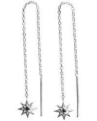 Murkani Jewellery - Sterling Silver & Black Spinel Falling Star Thread Earrings | - Lyst