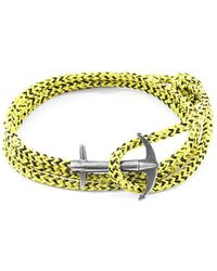 Anchor & Crew - Yellow Noir Admiral Silver And Rope Bracelet - Lyst