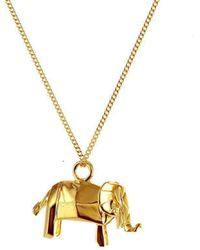 Origami Jewellery - Sterling Silver Gold Plated Elephant Necklace - Lyst