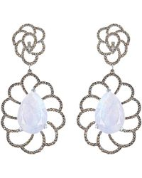 Arya Esha - Gold, Moonstone & Diamond Drop Earrings | - Lyst