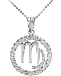 QP Jewellers - Circle Rope Virgo Pendant 9kt White Gold - Lyst