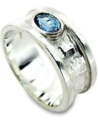 Will Bishop - Small Sterling Silver & Blue Topaz Drum Ring - Lyst