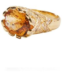 Alexandra Alberta - Yellow Gold Plated Heliconia Ring With Citrine - Lyst