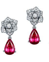 SILVER YULAN - Pear Cut Red Tourmaline Flower Earrings - Lyst