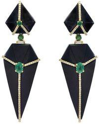 Ri Noor - Onyx Earrings With Emeralds & Diamonds - Lyst