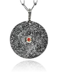 Apostolos Jewellery - The Earth Song Round Oxidised Silver Pendant - Lyst