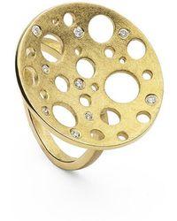Muscari Jewellery - Golden Round Moon Ring - Lyst