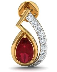 Diamoire Jewels - Pear Shape African Ruby And Diamond Pave Earrings In 14kt Yellow Gold - Lyst