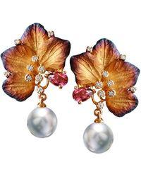 Chekotin Jewellery - Gold & Pearl Eden Earrings | - Lyst