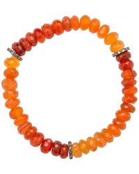 Heather Kenealy Jewelry - Graduated Colour Carnelian And Pave Diamond Bracelet - Lyst