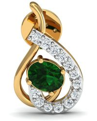 Diamoire Jewels Nature Inspired Oval Cut Emerald and Diamond Earrings in 10kt Yellow Gold mgWEoRXSx