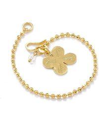 Vicky Davies - Sterling Silver & 18kt Gold Four Leaf Clover Bracelet - Lyst